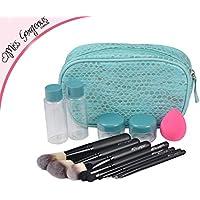 Miss Gorgeous Beauty Care Travel Cosmetic Set Blue Handbag Sponge Puff Makeup Brush Set