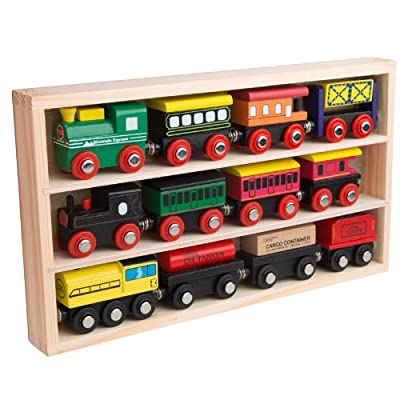 12 Pcs Wooden Engines & Train Cars Collection fits Thomas, Brio, Chuggington from Orbrium Toys