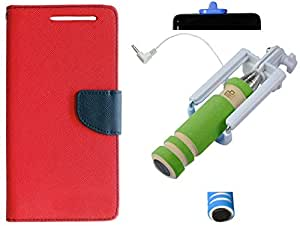 Novo Style Wallet Case Cover For Samsung GalaxyJ7 Red + Wired Selfie Stick No Battery Charging Premium Sturdy Design Best Pocket SizedSelfie Stick