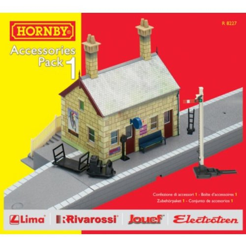 [HSB Bundle+] Hornby Building Extension Pack 1 00 Gauge Track Accessory with accompanying Micro Solar-Powered Car