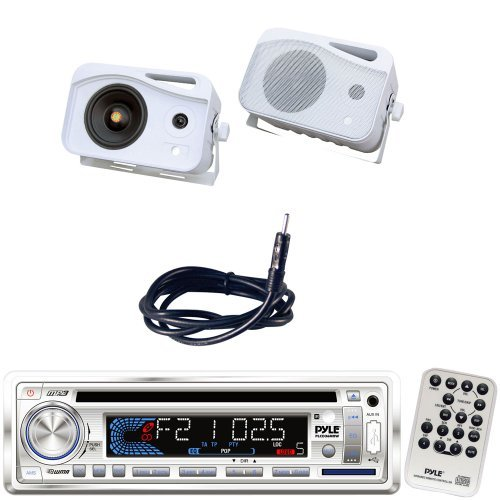 Pyle Marine Radio Receiver, Speaker and Cable Package - PLCD36MRW AM/FM-MPX IN-Dash Marine CD/MP3 Player/Weatherband/USB & SD Card Function - PLMR25 4'' 300 Watt 3-Way Water Proof Mini Box Speaker System (White) - PLMRNT1 22