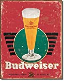 Large Budweiser Bud LAGER Glass Beer Vintage Retro Metal Tin Wall Sign 16x12.5