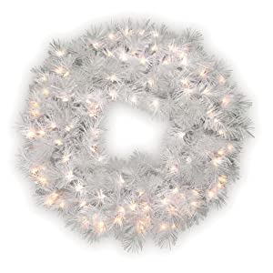 National Tree Company - 30 Wispy Willow Grande White Wreath - Prelit with 100 Velvet Frost White Lights