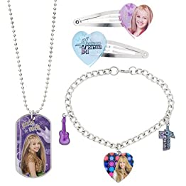 Disney Hannah Montana Barrettes/ Bracelet/ Dog Tag Necklace Jewelry Set
