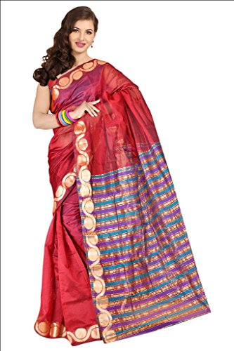 Parchayee Women Synthetic Sarees (94057B _Maroon _Free Size)