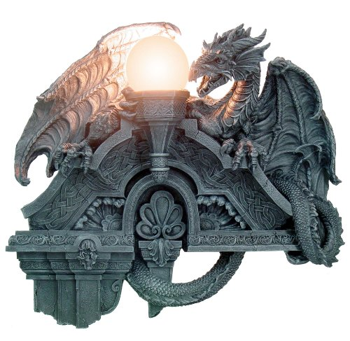 "MEDIEVAL GOTHIC DRAGON LAMP 22-1/4""H, 93852 BY ACK - 1"
