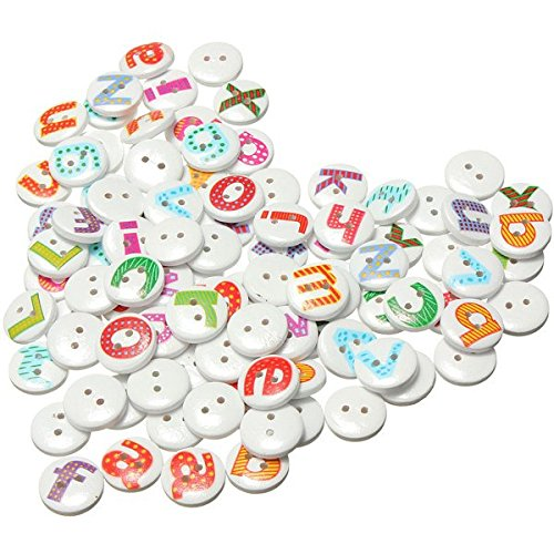 100Pcs 2 Holes Mixed Painted Letter Alphabet Round Wooden Sewing Button Children Kids Scrapbooking Decor 1.5cm (Alphabet Sewing Buttons compare prices)