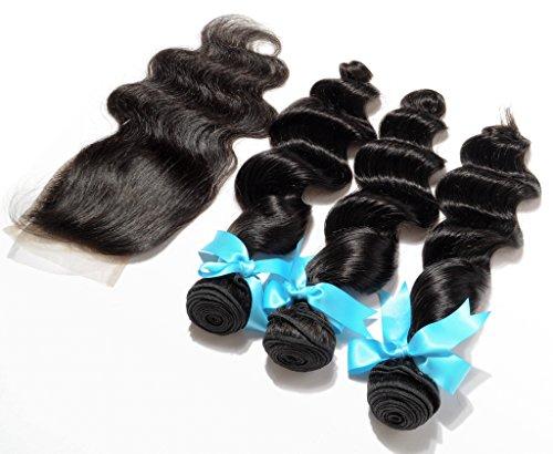 Danolsmann-Hair-Extensions-100-Virgin-Brazilian-Weave-for-Cheap-Loose-Wave-3-Bundles-12-30-and-1-Closure-44-Natural-Black-Color