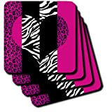 3dRose Cst_35437_1 Pink Black And White Animal Print-Leopard And Zebra Heart-Soft Coasters, Set Of 4