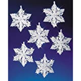 Beadery Holiday Beaded Ornament Kit, Snow Crystals, 3.5-Inch, Makes 6