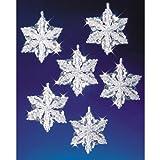 Beadery Holiday Beaded Ornament Kit, Snow Crystals, 3.5-Inch, Makes 6