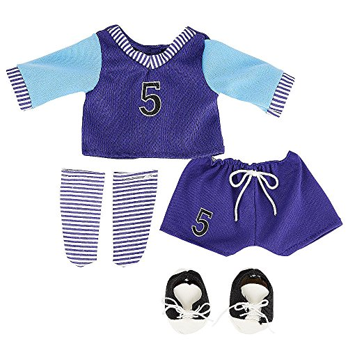 You & Me Friends 14 Inch Doll Outfit - Purple/Blue Soccer Jersey And Shorts front-887635