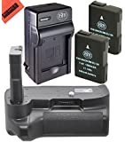 Battery And Charger Kit for Nikon D5100 D5200 D5300 Digital SLR Camera Includes Vertical Battery Grip + Qty 2 Replacement EN-EL14 Batteries + Rapid AC/DC Charger + LCD Screen Protectors + Micro Fiber Cleaning Cloth