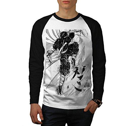 [Asian Ninja Warrior Battle Kick Men NEW White L Baseball LS T-shirt | Wellcoda] (Ramen Noodle Costumes)