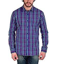Enryca Men's Casual Shirt(ENMSH 0084BLUE -XL_Blue_44)