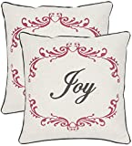 Safavieh Pillow Collection Throw Pillows, 18 by 18-Inch, Joy Beige and Red, Set of 2