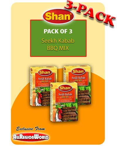 Shan Seekh Kabab BBQ Mix Masala Seasoning 1.75Oz., 50G (3-Pack) Free Recipe Included Exclusive From Allregionworld