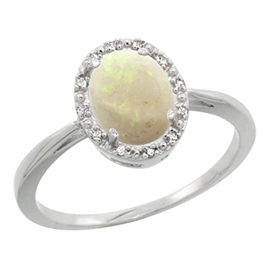 Revoni Sterling Silver Opal And Diamond Ring, Oval Stone (8X6 mm)