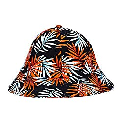 Home Prefer Foldable Bucket Hat Palm Tree Leaf Pattern Outdoor Sun Hat