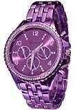 Geneva Purple Haze Rock Star Metallic CZ Chronograph 9083