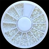 Evermarket White Pearl Nail Art Stone Different Size Wheel Rhinestones Beads