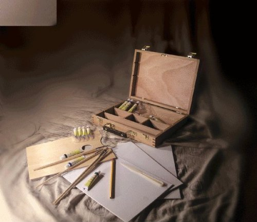Artist Painting Starter Set With Acrylic Paint, 3-Pc Canvas Panels, Brushes, Palette, Pencil, And Palette Knife
