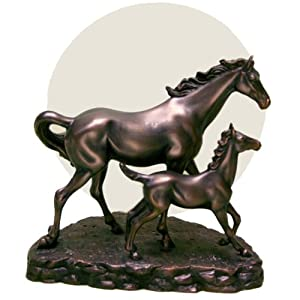Bronze Resin Horse & Foal Equestrian Horses Table Lamp Light