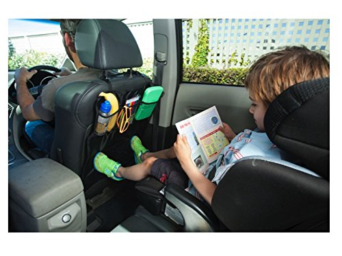 Kick Mat Car Seat Protectors - 2 Count - Keep Your Automotive Seat Back Clean From Kids Dirty Feet. Complete with Handy Pocket Organizers.