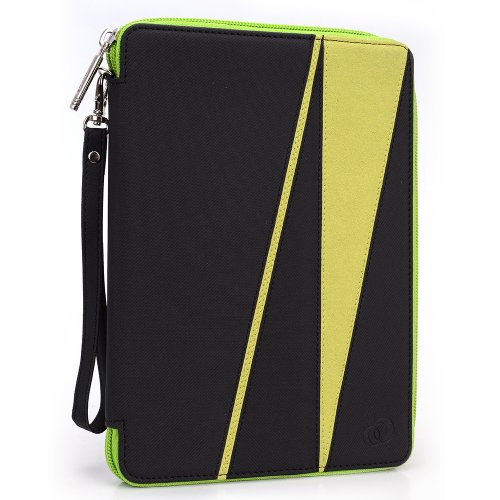 GizmoDorks Travel Folio Zipper Stand Case Cover Pouch for Ematic 7 TFT Color Tablet with Carabiner Key Chain - Green