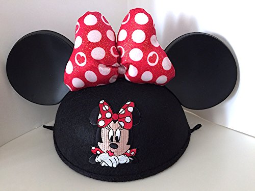 Disney Parks Minnie Mouse Embroidered with Bow Ears Hat Adult Size NEW Mickey
