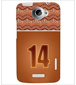 PrintDhaba Numerology Number 14 D-3647 Back Case Cover for HTC ONE X (Multi-Coloured)
