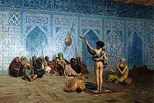 Gerome (The Snake Charmer, c.1870) Canvas Art Print Reproduction (14.5x21.7 in) (37x55 cm)