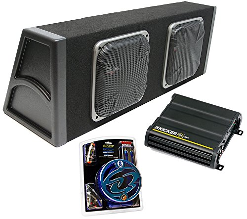 "Kicker Dual 10"" Loaded Square Subwoofer Sub Box 1200W Package W/ Cx600.1 Amp Kit"