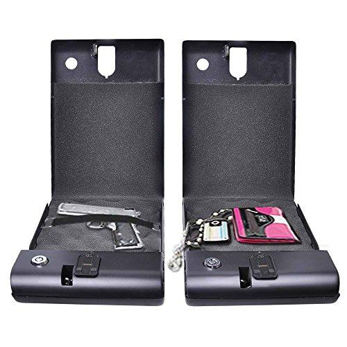 New Portable Fingerprint Biometric Gun Box Safe Cash Money Home Security Boxes
