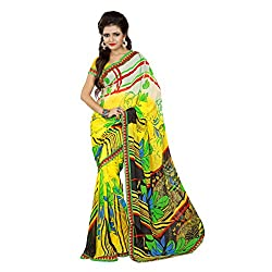 Mahadev Enterpris Women's Georgette Saree Printed Less Works Border With Unstitched Blouse Piece (Multi-Coloured , Freesize , MPJ_369)