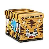 Relaxdays Faltbare Spielzeugkiste Tiger HBT 32 x 48 x 32