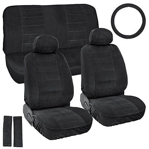Vintage Auto Seat Covers Set in Black - Thick & Durable Fabric - Woven Auto Interior Accessories for Car Truck & SUV (Vintage Seat Covers compare prices)