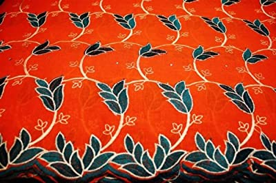 Orange, Poly Cotton Embroidery Lace Fabric, African Design Textile in 10 Colors