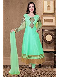 Utsav Fashion Women's Light Teal Green Art Silk And Net Readymade Anarkali Churidar Kameez-X-Small