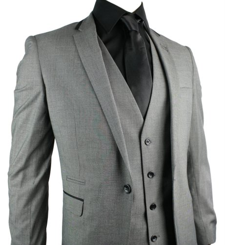 Mens Slim Fit Suit Grey 3 Piece 1 Button Black Trim Work Party Wedding
