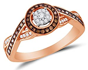 Size 10 - 10K Rose Gold Chocolate Brown & White Round Diamond Halo Circle Engagement Ring - Prong Set Flower Center Setting Shape (1/4 cttw.)