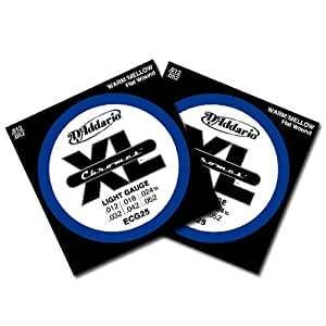 d 39 addario xl chromes flatwound light gauge 12 52 electric guitar strings 2 packs. Black Bedroom Furniture Sets. Home Design Ideas