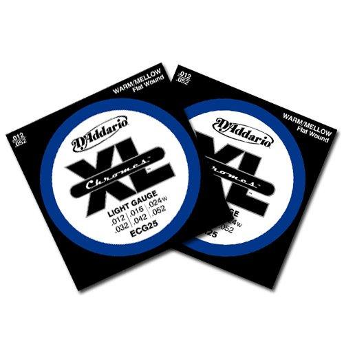 D'Addario Chromes Flatwound Electric Guitar Strings Ecg25 12-52 2 Pack