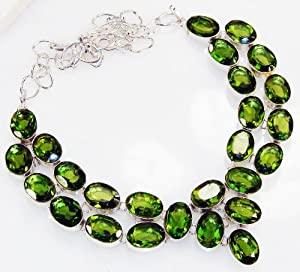 Handmade Peridot Necklace , Real Beauty Unique Handmade Huge!! Rare Queen Style Green Peridot 925 Silver Plated Necklace , 64 g, L:18.00 H:0.38 W:1.50 Artisan Unique Green Color Princess Necklace Jewelry