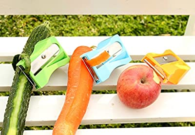 iSaddle Multi-functional Vegetable Sharpener & Peeler Carrot Cucumber Slicer Kitchen Gadget Tool Vegetable Fruit Curl Slicer - Pencil Sharpener Design Flower-Shape Cutting