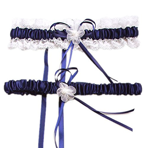 HardNok Throw Away and Keep One Wedding Garter Set, Royal Blue/White, 2 Per Pack