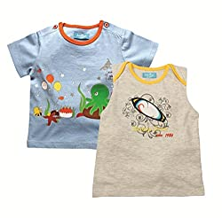 Juscubs Printed t-shirts combo- light blue underwater b'day & gray melange surfboard artworks