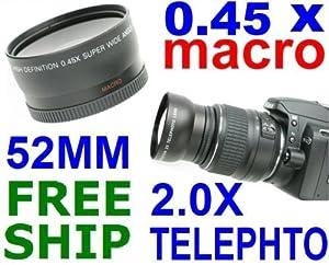 52MM WIDEANGLE+TELEPHOTO LENS FOR NIKON D40 D3000 D5000