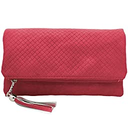 BMC Womens Hot Pink Textured PU Faux Leather Quilted Pattern Triple Compartment Zipper Tassel Fashion Clutch Handbag