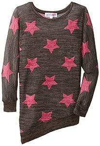 Derek Heart Big Girls' Asymmetrical Hem Tunic, Black/Pink, Large